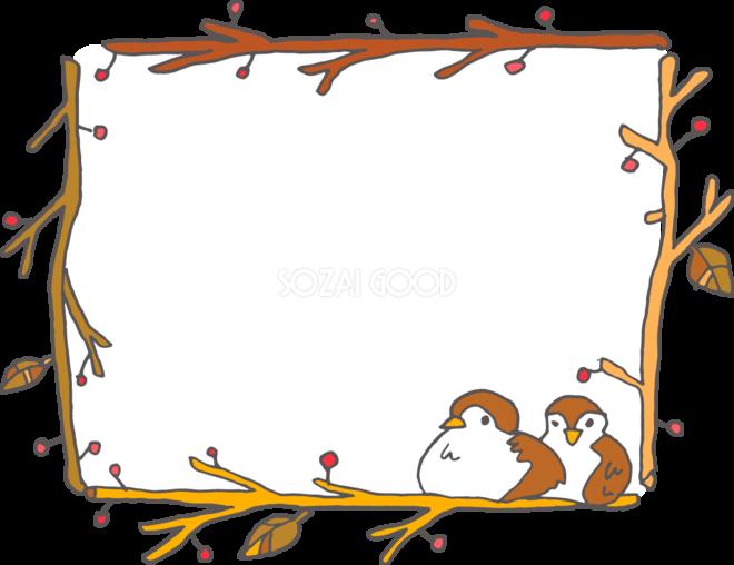 冬の枠 無料イラスト スズメと木の実38486 素材good