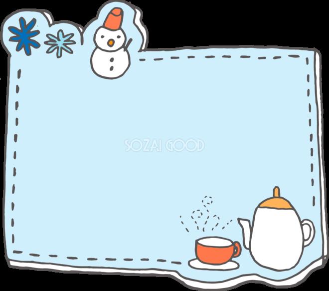 冬の枠 無料イラスト 雪とお茶と結晶38523 素材good
