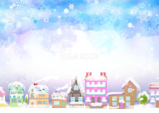 冬の背景イラストかわいい雪景色と家や住宅街38653 素材good