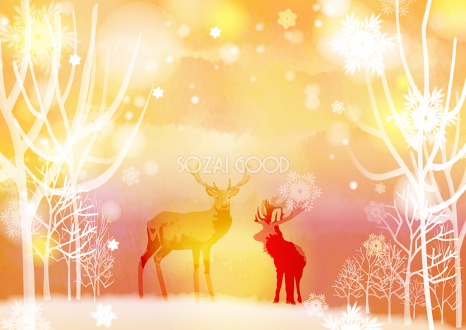 冬の背景イラスト幻想的なオレンジの雪風景とトナカイ38678 素材good