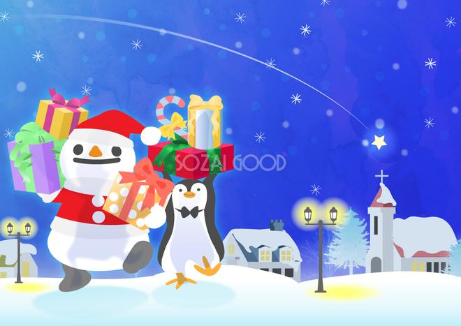 冬の背景イラスト雪だるまのサンタクロースと雪景色風景38695 素材good