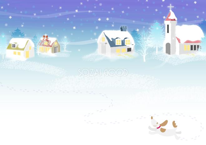 冬の背景イラスト雪景色で遊ぶ犬と可愛い家38707 素材good