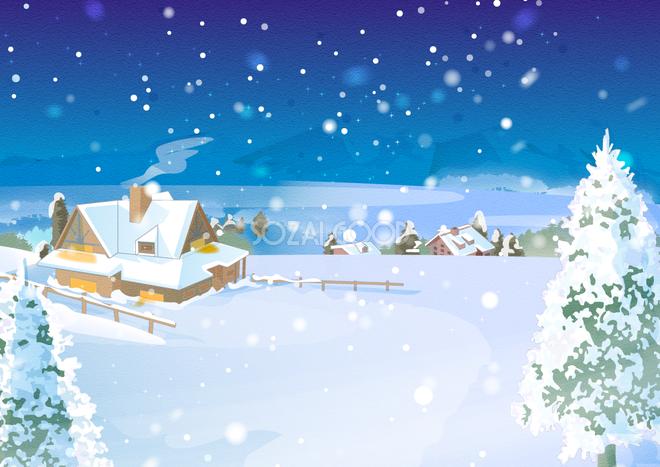 冬の背景イラスト雪積もる家と景色風景38715 素材good