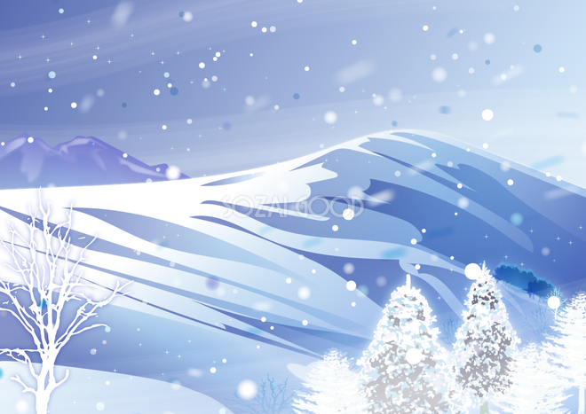 冬の背景イラスト雪積もる広大な山の景色や風景38719 素材good
