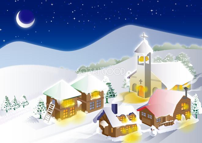 冬の背景イラスト夜の雪景色風景38739 素材good