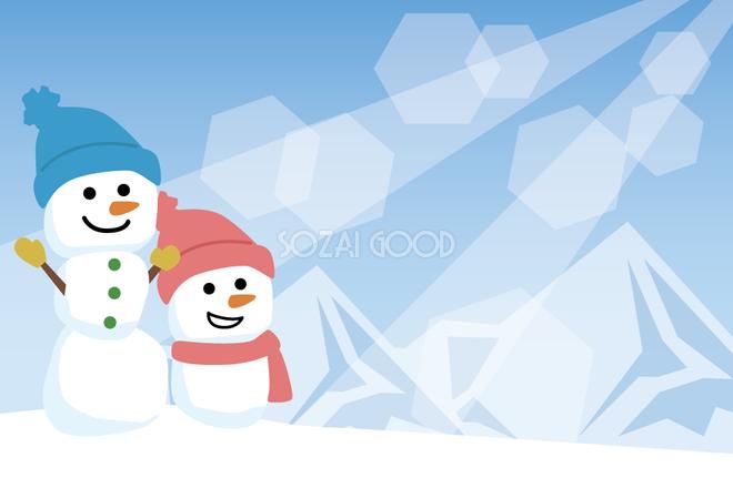 冬の背景フリーイラスト雪だるまと雪山38805 素材good