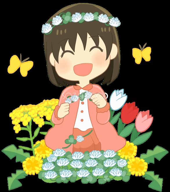 可愛い女の子の笑顔キャラクター春無料イラスト40796 素材good