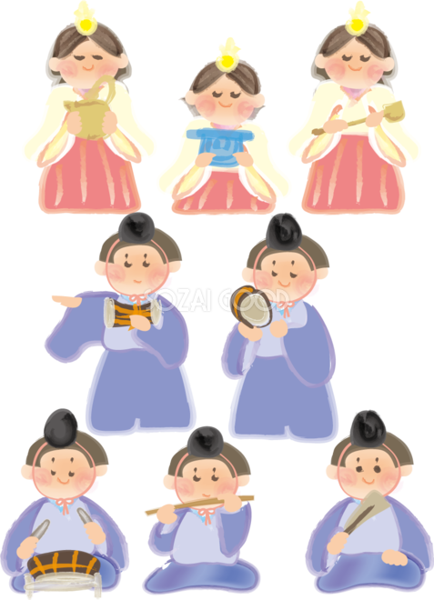 ひな祭りの可愛い三人官女と五人囃子が並ぶ無料イラスト40949 素材good
