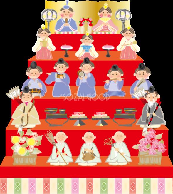 ひな祭り5段飾り無料イラスト40953 素材good
