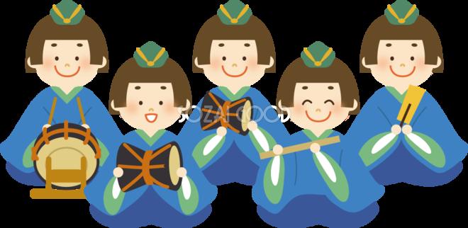 可愛いひな祭りの五人囃子が並ぶ無料イラスト41080 素材good