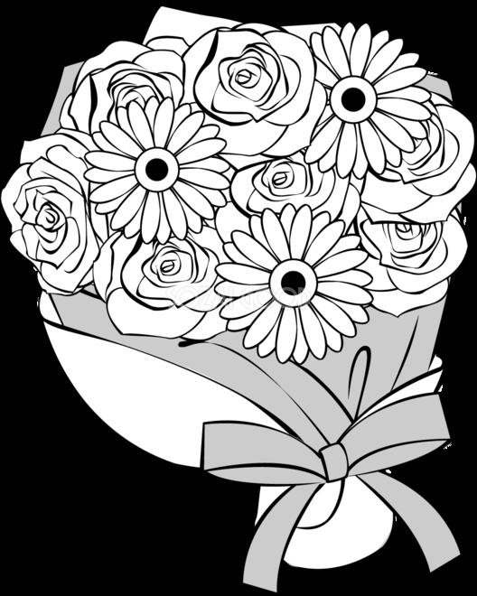 白黒の花束 バラマーガレット無料イラスト春の41792 素材good