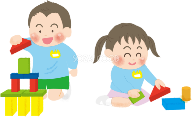 積み木で遊ぶ子供達の無料イラスト/幼稚園45696