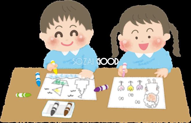 塗り絵をする子供達の無料イラスト幼稚園45708 素材good