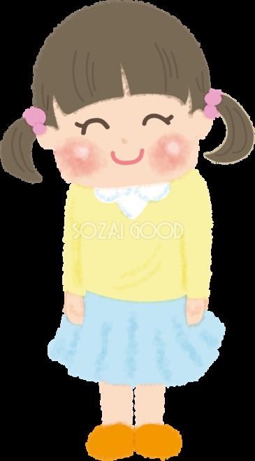 幼稚園生女の子笑顔で気をつけする無料イラスト幼稚園45716 素材good