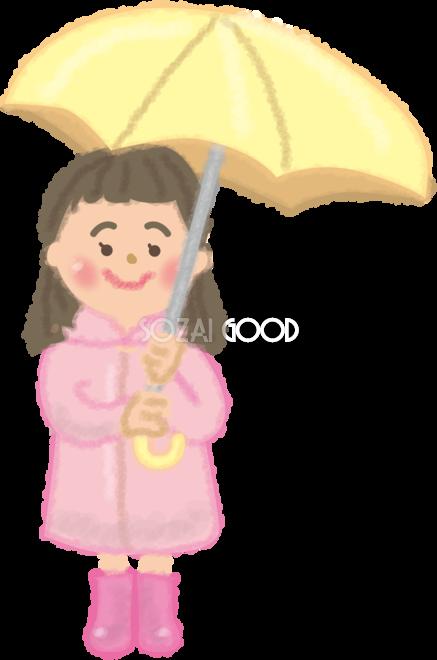 カッパレインコートを着て傘をさす女の子の無料イラスト梅雨45844