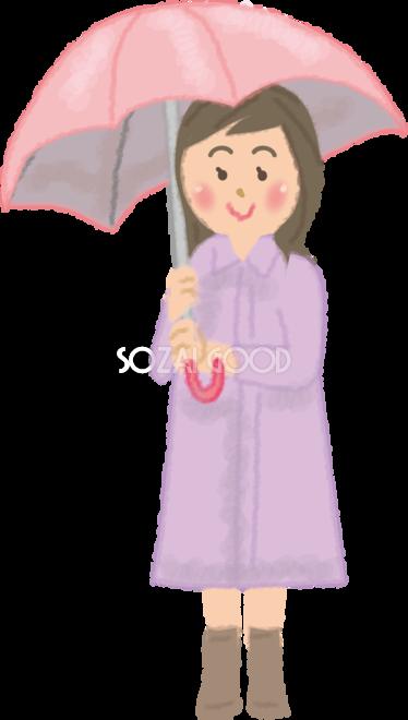 カッパレインコートを着て傘をさす女性の無料イラスト梅雨45848