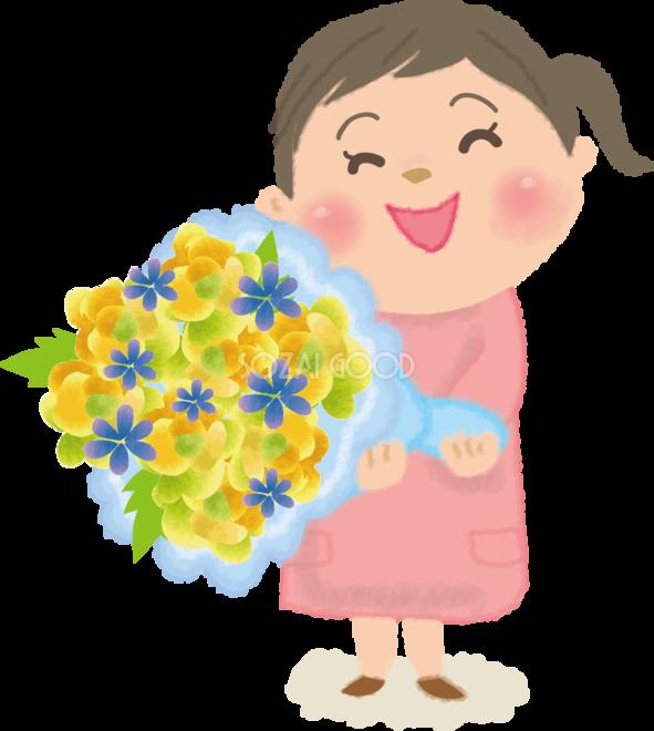 お父さんに花束をあげる女の子の無料イラスト父の日45955 素材good