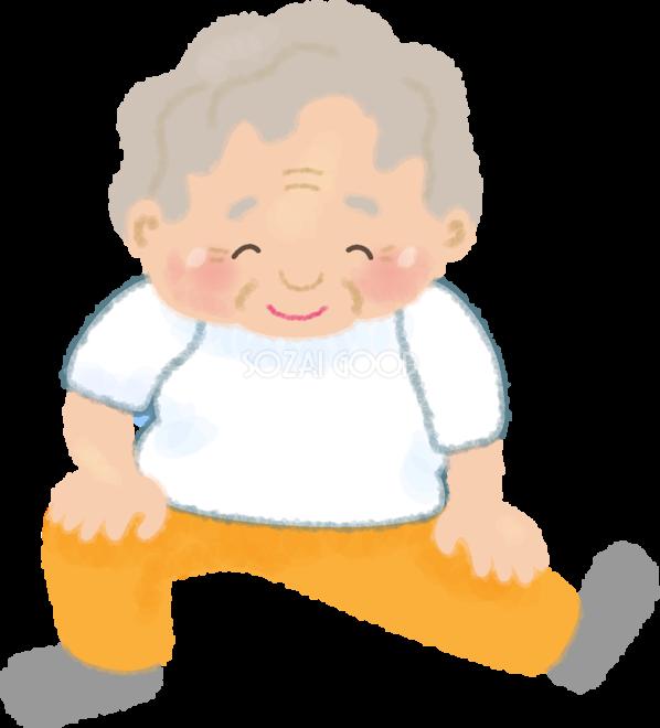 ストレッチするおばあさんの無料イラスト医療健康46200 素材good