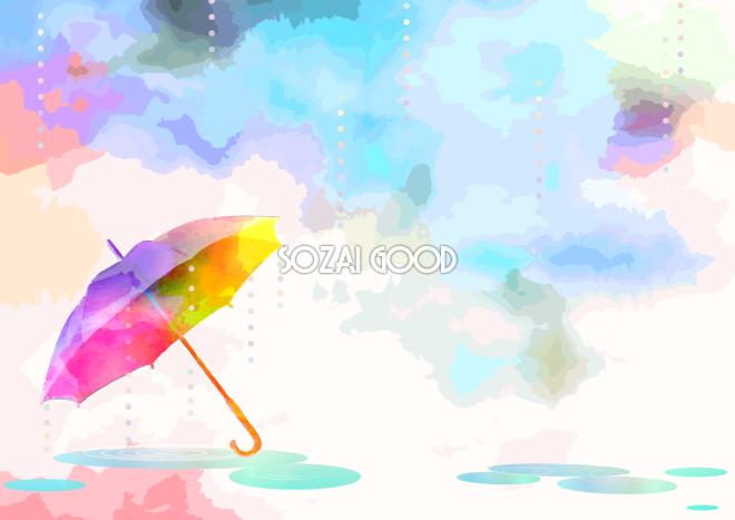 レインボー傘の綺麗な水彩画シンプル背景無料イラスト梅雨46441 素材good