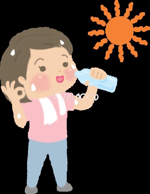 こまめな水分補給をアピールする女性の無料イラスト夏46882 素材good
