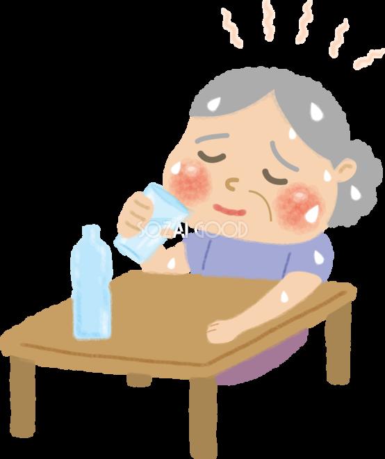 熱中症(室内)の高齢者(お婆さん)水分補給の無料イラスト/医療/夏46914