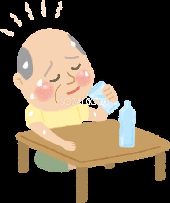 熱中症室内の高齢者お爺さん水分補給の無料イラスト医療夏46918