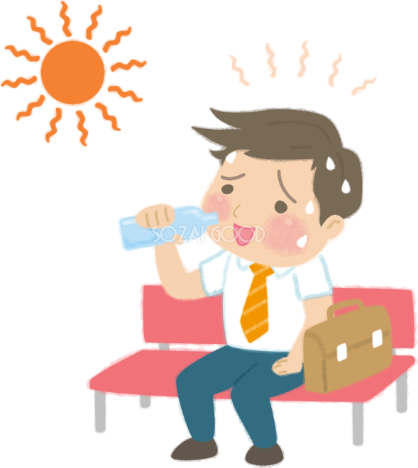 熱中症のサラリーマンが水分補給で危機一髪の無料イラスト医療夏