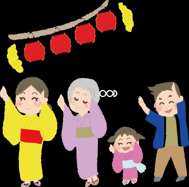 かわいい盆踊りをする人たちの無料イラストお祭り47312 素材good