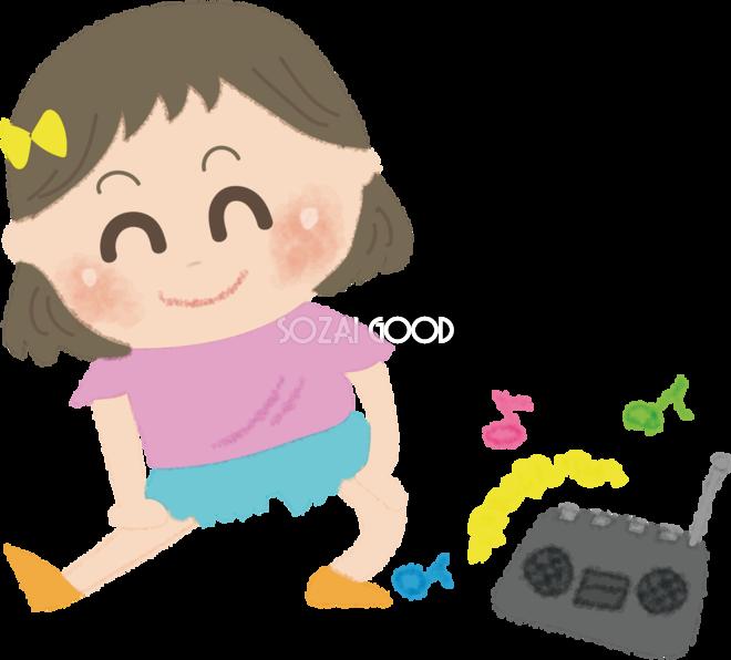 ラジオ体操をする女の子の無料イラスト夏47365 素材good