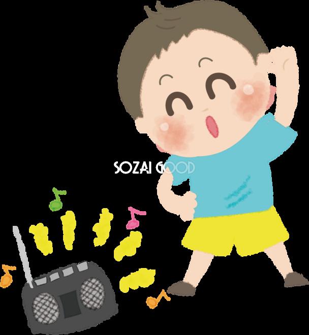 ラジオ体操をする男の子の無料イラスト夏47369 素材good