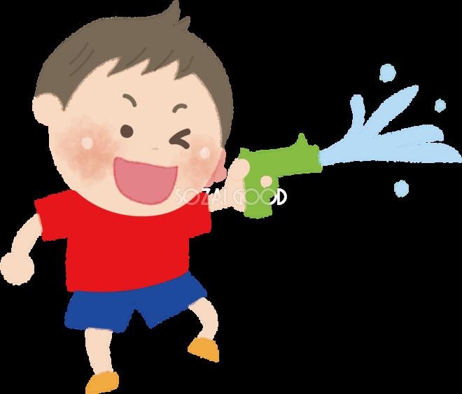 水鉄砲で遊ぶ男の子の無料イラスト海 プール47998 素材good