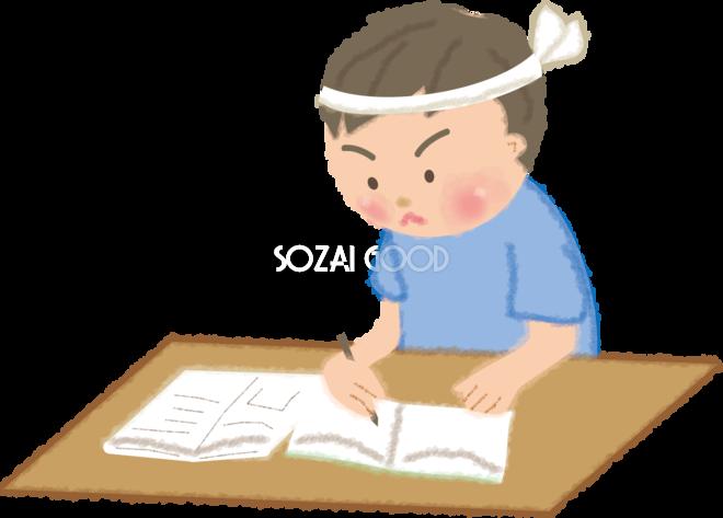 宿題を必死にする男の子の無料イラスト/夏休み49171