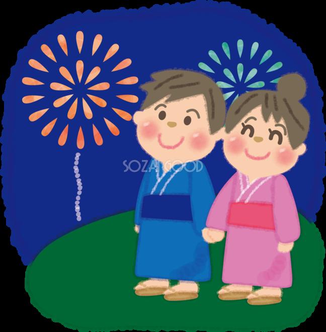 花火大会を手をつなぎ見上げる男女カップルの無料イラスト夏休み49733