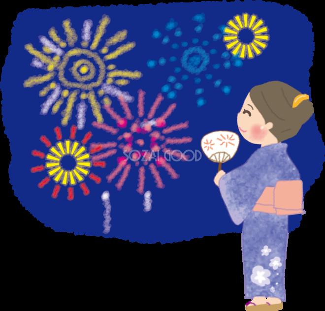 浴衣を着て手書き風の花火大会を見る女性の無料イラスト49848 素材good