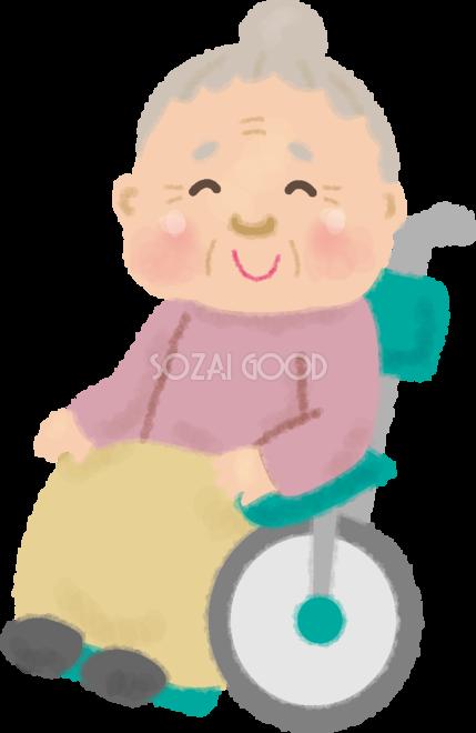 かわいい車椅子に乗るおばあちゃんの無料イラスト 高齢者 老人 素材good