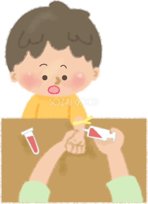採血中に注射の針を見るかわいい男の子の無料イラスト病院50168 素材good