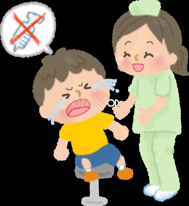 注射を嫌がり泣くかわいい男の子をなだめる看護師の無料イラスト 病院