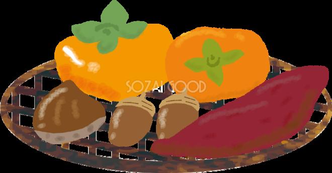 ザルに盛られたどんぐり柿栗サツマイモ無料イラスト秋51695 素材good