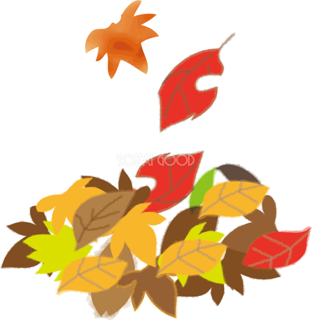 山積みのもみじの落ち葉や枯葉の無料イラスト秋51747 素材good