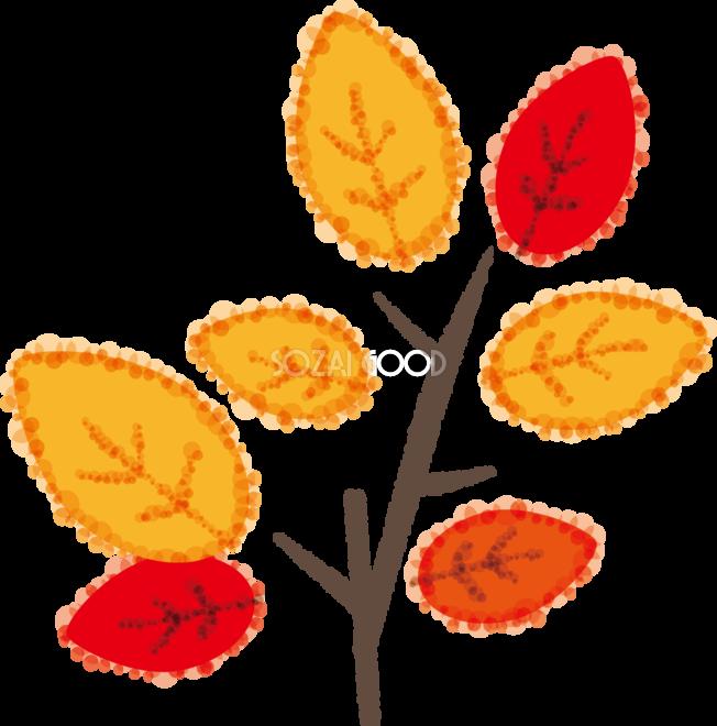かわいい秋の紅葉もみじした枝と葉の無料イラスト51771 素材good