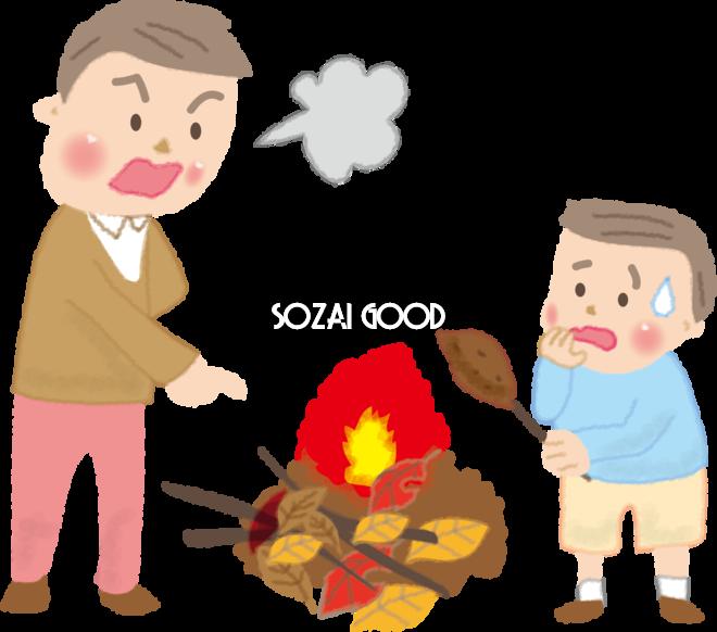落ち葉でサツマイモを焼き怒られる子ども達の無料イラスト秋51828