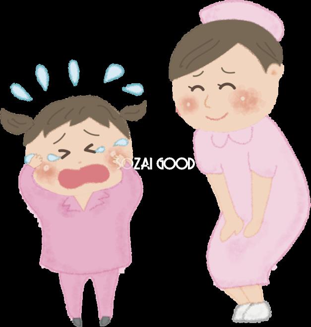 小児(女の子)が病院で泣く無料イラスト52598