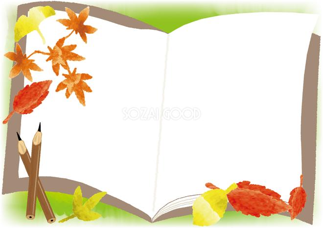本ノート秋の紅葉もみじやイチョウの背景フレーム枠の無料イラスト