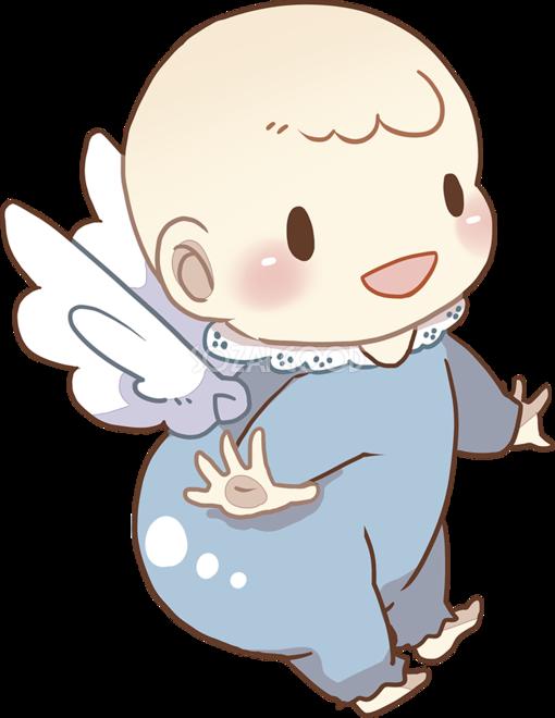 天使の羽根をつけた天使のようなキラキラした赤ちゃん 無料イラスト
