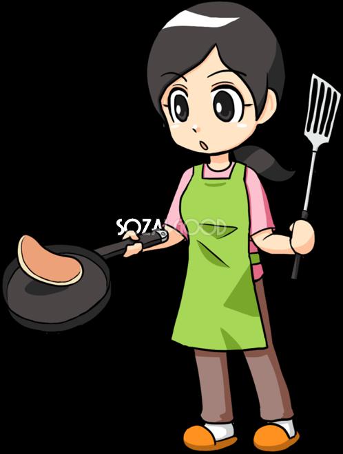 フライパンで料理をする女性 無料イラスト 素材good