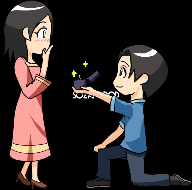 男性が女性に告白し指輪を渡す 無料イラスト 素材good