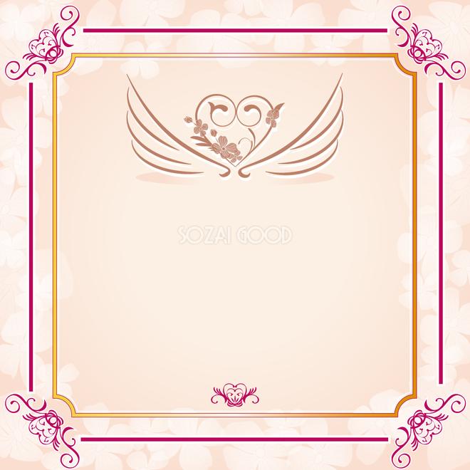 羽根やハート飾り枠フレームイラスト 結婚 招待状 カード 母の日57244