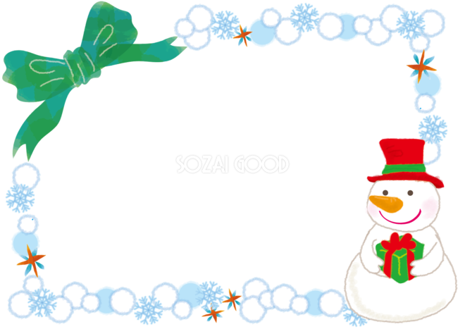 クリスマスの雪だるまイラストおしゃれフレーム無料イラスト57726 素材good