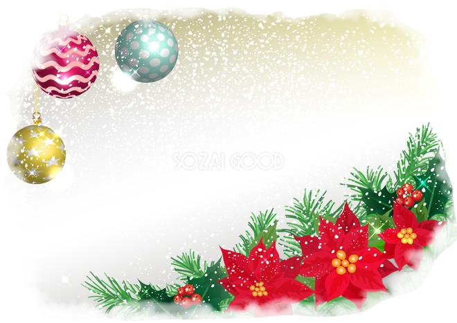 クリスマス 霜とポインセチアフレーム飾り枠の無料イラスト画像596 素材good