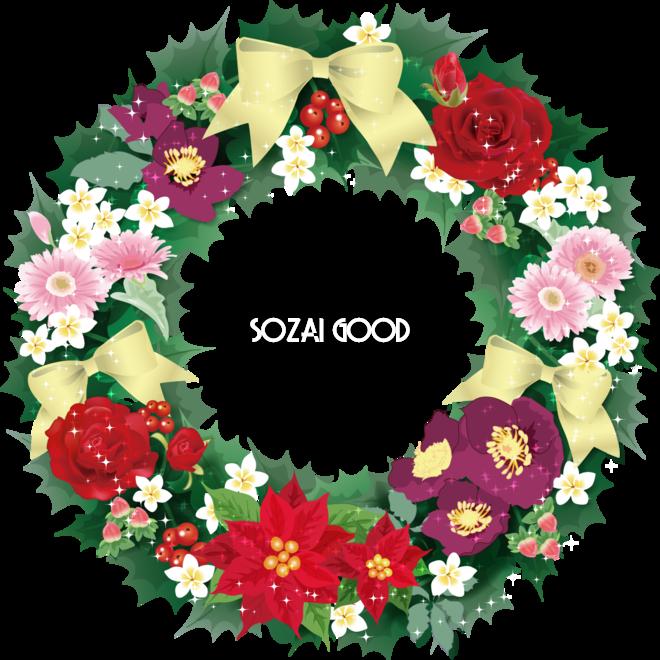 クリスマス 花いっぱいのリースフレーム飾り枠の無料イラスト画像58321